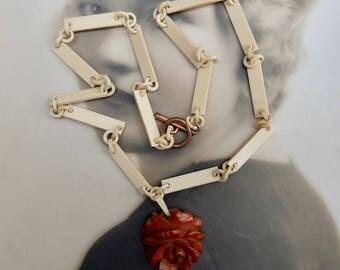 Vintage Celluloid Link Chain Necklace Bakelite Rose Pendant