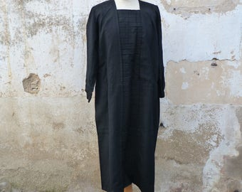 Vintage Antique 1910/1920s  black middle length light wool dress  size S/M