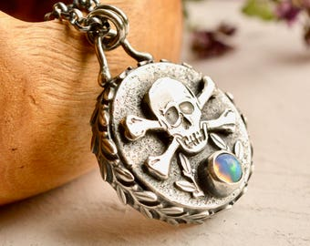 Silver Skull Pendant, Opal Necklace, Hollow Form Silver Pendant, Gemstone Pendant, Detailed Metalwork , Metalsmithed Jewelry
