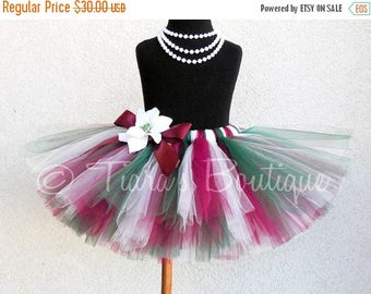 "SUMMER SALE 20% OFF Red White Green - Christmas Tutu - Holiday Traditions - Sewn 8"" Tutu in Ivory, Burgundy, and Hunter - Vintage Christmas"