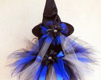 "SUMMER SALE 20% OFF Tutu Witch Costume - Braelyn, the Blue Witch - Custom Sewn 11"" Pixie Tutu & Witch Hat - sizes Newborn to 5T - perfect fo"