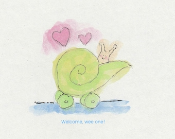 Snail mail new baby shower card