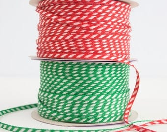 Green or Red Diagonal Striped Woven Ribbon 1/8""