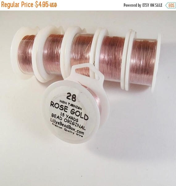 Summer SALEabration - Rose Gold Wire, 28 Gauge Plated Wire, Round, Thin Wire for Wrapping Gemstones & Jewelry Making, Soft Wire, Non Tarnish
