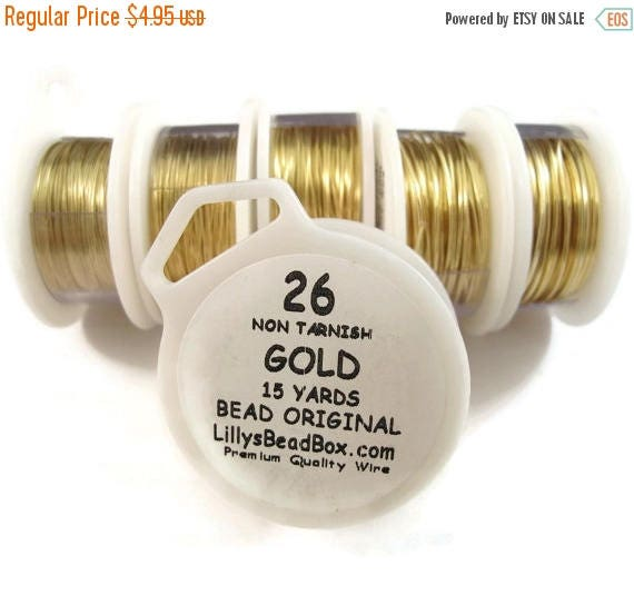 Summer SALEabration - Gold Plated Wire - 26 Gauge Wire for Making Jewlery, Non Tarnish Wire, Wire Wrapping Supplies, Thin Gold Wire for Maki