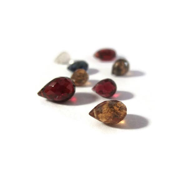Briolette Grabs : Mixed Lot of 8 Gemstone Beads for Making Jewelry, Brown Garnet, Red Garnet, Sapphire & Quartz, Jewelry Supplies (B-Mix11b)