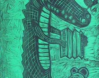Cajun Gator Woodcut