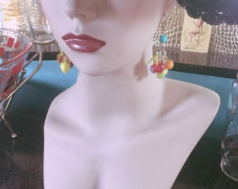 Vintage 1940s Style earrings fruit salad novelty Carmen Miranda plastic 40s 1950s BL
