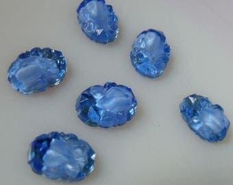 SALE 30% Off Vintage Baroque Cobalt Blue Geode Glass Foiled Cabochons - 14X10 ovals - six