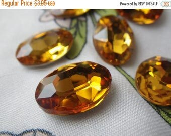 SALE 20% Off Golden Topaz 18x13mm Oval Crystal Glass Pointed Back Gems 6 Pcs