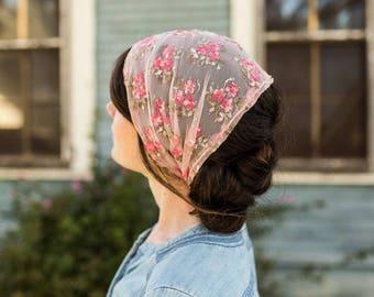 Cafe Cream Lace Headwrap Garlands of Grace | Birdal  headcovering veil headband