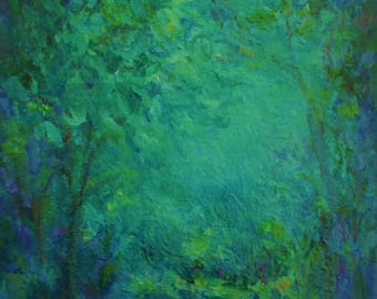 Original Impressionist Landscape Painting- 8x10 Canvas Wall Art- Trees Water- Light in the Forest
