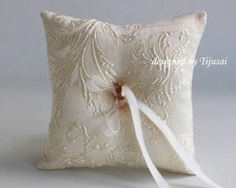 Ivory Wedding ring pillow,ring bearer pillow, wedding pillow , ring bearer, ring cushion-ready to ship