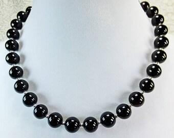 Elegant Large Black Stone Beaded Necklace 18 inch length