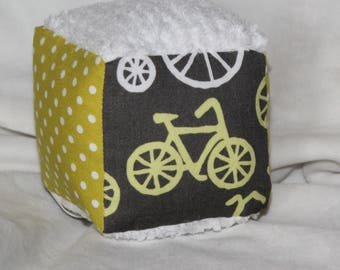 Small Yellow Bicycles Fabric Block Rattle Toy