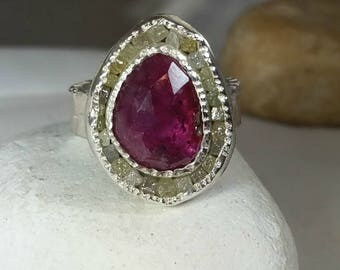 resrved for RT,Ruby and Raw Diamond ring, multi stone Ring, 22 kt gold and Rose cut ruby diamond ring, OOAK, statement ring