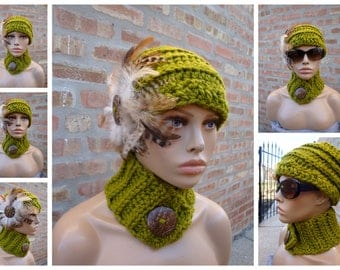 LemonGreen Hat with Feathers and matching scarf -Lemongrass Green Crochet Hat - Hat Set - Crochet Cap - Custom colors available