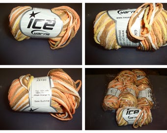 ICE Yarn/Shades of Yellow, Orange, Khaki /Stash Busting