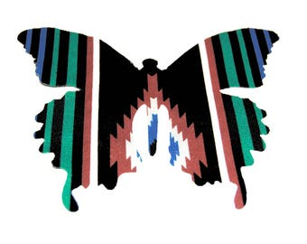 Large Striped Butterfly Die Cut on Cotton Native American Print Fabric (Number 1)