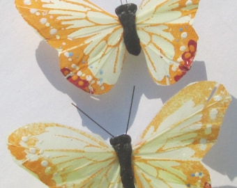 Butterfly Hair Clips Yellow feather butterfly Yellow Butterflies Hair Ornament Butterfly Accessory  hand made hair clips by Ziporgiabella