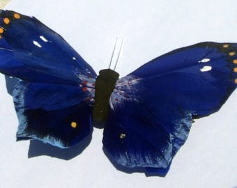 Butterfly Hair Clips VERY LARGE cobalt blue feather butterfly hand made hair clips Butterfly Accessories by Ziporgiabella