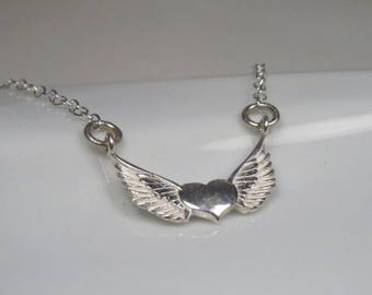 SALE - Winged heart necklace sterling silver, Angel wing necklace, guardian angel necklace