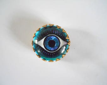Vintage Large 18 MM Blue Eye Glass Cabochon