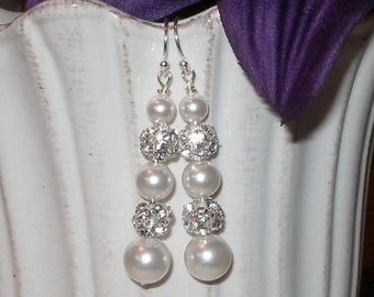 ON SALE 20% OFF Pearl Rhinestone Earrings Bridal Wedding Jewelry Bridesmaids Pearls Sterling Silver White Ivory Gold