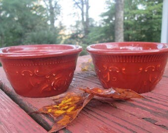 Two Pottery/ Stoneware Custard Cups - T.S.T Taylor Smith Taylor Ovenware - Embossed Rust Brown