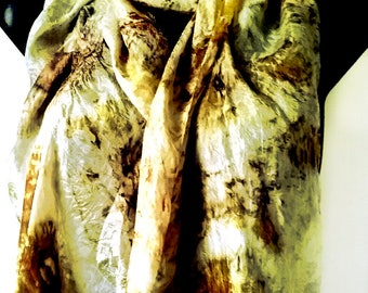 Eco Printed Nuno Felted Silk Scarf Onion Skins and Eucalyptus Natural Dyes Eco Friendly Summer Scarf Silk Clothing