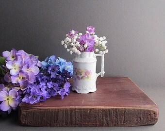 Vintage Shabby Cottage Chic Vase, Floral Creamer, Cottage Decor, Small Vintage Pitcher
