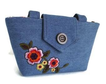 Denim Flower Embroidery - Floral Patch - Wayfarer Purse -Shoulder Bag - Vegan