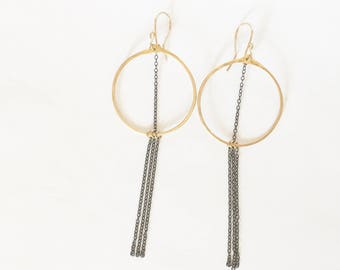 Gold hoops with oxidized sterling silver chain