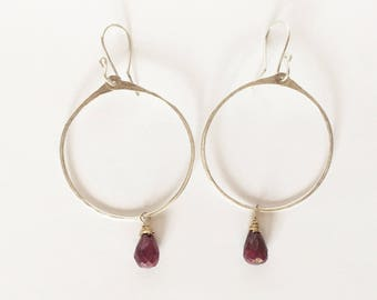 Sterling silver hoops with gold wrapped ruby