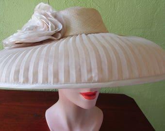 Gabriela Ligenza Gossimer Sheer Pleat Straw Hat Wide Brim Bridal Wedding Sun Derby Church Easter