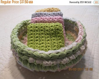 25% OFF STORE SALE Crocheted Fabric Rag Rug Basket with  Spring Colors and 4  Hot Green Pink Baby Blue and Yellow Washcloths