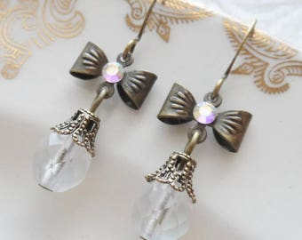 75% Off, Sweet Alice, Bow Earrings with AB Czech Glass Bead and Swarovski Crystal
