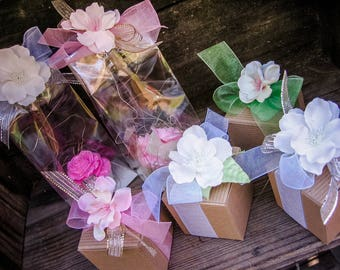 Beautiful gift boxes, cello bags, favor boxes, flower boxes, favor bags, soap boxes, gift packaging, silk flowers, shower favors, tea party