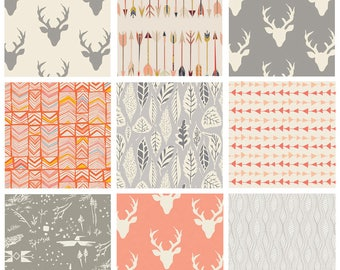 9 FABRIC BUNDLE - Hello Bear, Wild and Free, Sweet as Honey (Gray / Peach) - Modern Quilting Cotton Fabric - Woodland Leaves Arrows