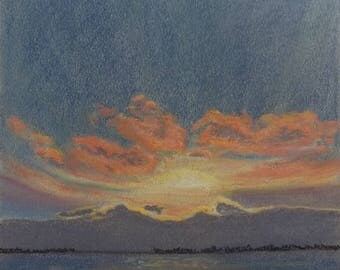 "Original pastel painting ""Daybreak on Amherst Island Number Six"" 8"" x 11"" neither mat nor frame are included"