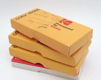 4 Vintage Cardboard Slide Boxes - Vintage Boxes - Small Organization - skinny thin kodak boxes