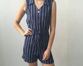 SUMMER SALE Vintage Navy Rayon Reworked Romper Size Small