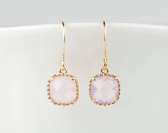 Pink Opal Gold Framed Dangle Earrings, Square Gold Earrings, Pink Gold Earrings, October Birthstone Earrings
