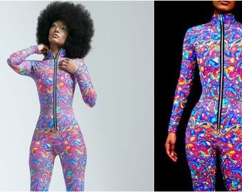 GLOW in the DARK! Psychedelic Rainbow with Glowing Stars High Collar Bodysuit