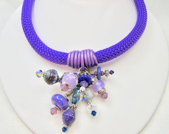 Purple Cord Necklace with African Rolled Paper Beads,Jewelry,MaryEllenDesigns,Gift For Her,Designer Glass Beads,Leather,Women's Necklaces