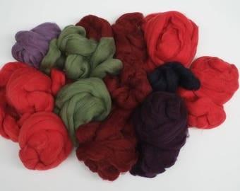 Dyed Shetland Tops mixed colours