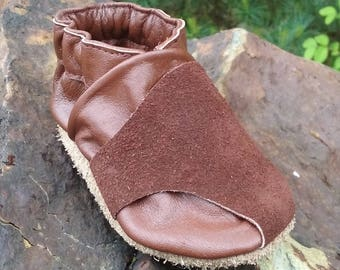 Soft Sole Leather Baby Shoes Moccs 6 to 12 Month Reclaimed