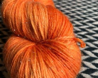 Hand-dyed yarn, Indie dyed yarn, hand dyed yarn TRAFFIC CONE --dyed to order-- Broadway sparkle sock merino/ nylon/ stellina yarn