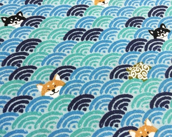 Shiba Waves in green and blue Japanese quilt cotton fabric