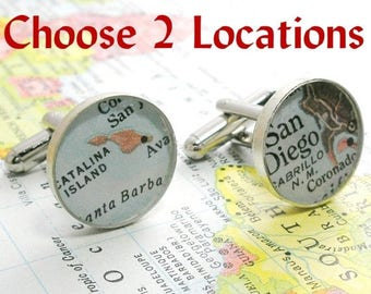 SUMMER SALE Grooms Gift from Bride, Anniversary Gifts for Men Vintage Map Cufflinks. Sterling Silver Round You Select the Journey.  fiancé g